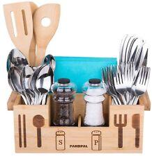 Bamboo Wooden Utensil Holder Caddy Flatware for Spoons Knives Forks