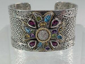 Very Fine EFFY Sterling Silver, 18k Gold, Gemstones & Diamonds Cuff Bracelet