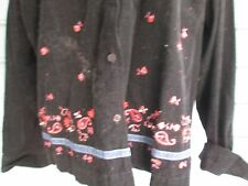 Black corduroy shirt/jacket w/denim collar & embroidered edge, Sz XL, A++, cute!