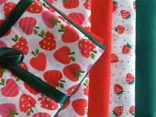 4 x half meters polycotton RED PINK STRAWBERRIES kids / fun fabric for BUNTING