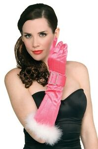 Pink Gloves with Marabou Trim and Silver Buckles- Fashionable Holiday Accessory