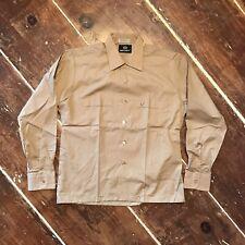 Vintage 60s 70s Perma Press Button Up Shirt Mens Medium Golden Brown Nos New