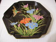 Black Six Sided Porcelain Painted Plate - Japan