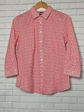 Talbots Button Down 3/4 Sleeve Red/White Women's Career Shirt size 6