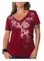Harley-Davidson Women's Fast Times Slim Fit Short Sleeve T-Shirt - Scarlet Red