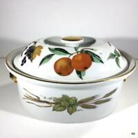 Evesham Gold ROYAL WORCESTER Porcelain 1.75 Quart Oval Covered Casserole Discont