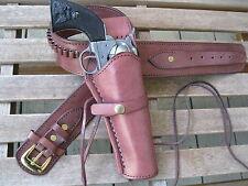 "Gun Belt - Cartridge - with 8"" Smooth Holster Combo - . 38 Caliber - Brown"
