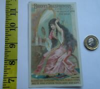 RARE  ANTIQUE VICTORIAN TRADE CARD BARRY`S TRICOPHEROUS - HAIR BOTTLE RELATED