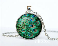 NEW Vintage Peacock feather Photo Tibetan silver Glass Chain Pendant Necklace