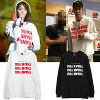 KPOP IU Cap Hoodie Lee Ji Eun Pullover Letter Casual Sweatershirt Unisex
