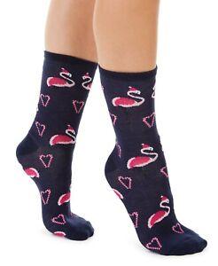 Christmas Socks Santa Flamingos Sock Hot Sox Crew Flamingo Shoe Sz 4-10 Gray