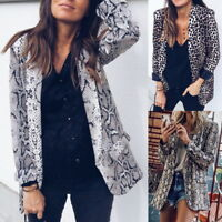 Ladies Casual Leopard Snake Print Long Sleeve Suit Coat Blazer Jacket Outwear520