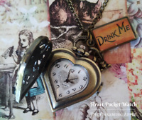 Alice in Wonderland Drink Me Pocket Watch_Heart_Accessory_Necklace_Chain_Gift