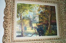 """Painting, Oil, Impressionistic """"Parisian Street Scene, c1950"""