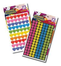 1000+ Reward Stickers - Coloured Hearts and Smiley Stars - School, Craft, Art