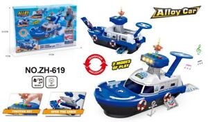 Kids Parking Lot Police Cruise Ship Model With Light & Music Siren 3pc Cars Toys