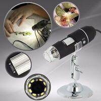 USB Mikroskop Endoskop 1000X 2MP 8 LED digital Lupe Kamera Schwarz