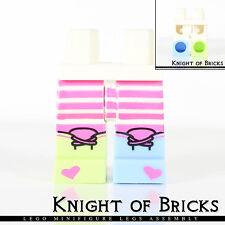 Lego Minifigure Legs WHITE Hips DARK PINK Stripes 1 YELLOWISH Boot 1 BLUE Boot