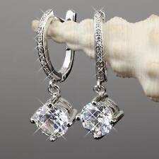 Orecchini ad anello zirconi bianchi placcato oro 750 argento regalo o1304