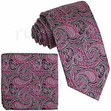 New Milani Men's Polyester paisley Neck Tie Necktie & hankie Fuchsia formal