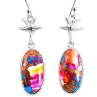 925 Silver 15.36cts Spiny Oyster Arizona Turquoise Star Fish Earrings R62387