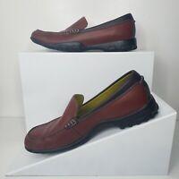 Cole Haan Waterproof Brown Leather Slip On Loafers Moc Toe Casual Women Shoe 7 B