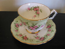 Aynsley Mint Green Sweetheart Roses China Teacup & Saucer