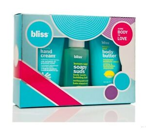 Bliss Some BODY to LOVE 3-Pc Set Hand Cream Body Butter Soapy Suds New Gift Box