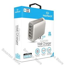 NAZTECH QUAD N260 4 PORT USB WALL CHARGER FOR CELL PHONE iPHONE TABLET 1A, 2.4A
