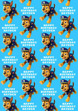 Chase Paw Patrol Personalised Gift Wrap - Chase Paw Patrol Wrapping Paper