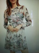 Ted Baker 'Remorra' Willow Long Sleeve Ruffle Dress Ivory Size 4 UK 12-14 New/