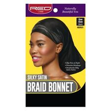 RED BY KISS SILKY SATIN BRAID BONNET ONE SIZE BLACK #HBR01 HAIR WRAP CAP