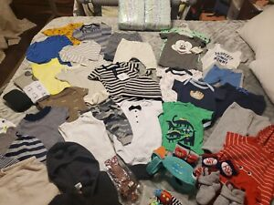 Huge Lot Baby Boy! 44 items- Diapers, Clothes, Hats, Socks, Swaddle 3 - 6 months