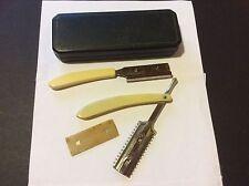 2 Vintage Durham maquinillas de afeitar dúplex con protector de seguridad en caso de cuero