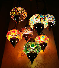 Turkish Moroccan Style Mosaic Multicolour Hanging Light Hand Made 7 Medium Globe