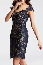 JOVANI ~ Navy Illusion Lace Cap Sleeve Formal Mini Sheath Dress 4 NEW $400