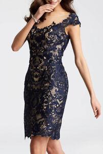 JOVANI ~ Navy Illusion Lace Overlay Cap Sleeve Sheath Party Dress 8 NEW $400