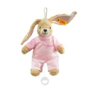 STEIFF 237584 Spieluhr Hoppel Hase rosa 20cm Baby