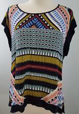 Black Rainn Womens  Top Mult-Color Cap Sleeves Rayon Medium