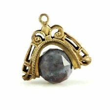 Victorian Brass Fob Spinner Pendant  Purple Faceted Agate Stone