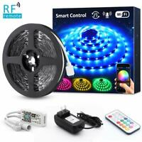 20ft Smart RGB LED Strip Lights Tape Kit 5050 Dimmable + RF Remote Waterproof US