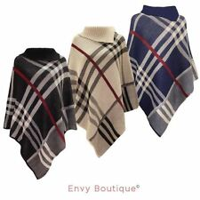 Checked Winter Poncho Coats & Jackets for Women