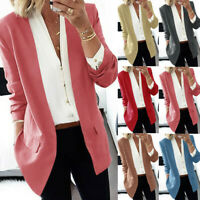 New Womens Lapel Long Coat Jackets Blazers Ladies Casual Office Suit Outwear