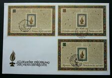 United Nation Human Rights 1988 (miniature FDC) *Rare *combined 3 ms FDC