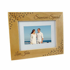 Personalised Wooden Photo Frame Gift Wedding Anniversary Custom Names Text Date