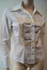 ANTONELLA MANOLI White Gold Glitter Diamante Detail Evening Shirt Blouse Top 10