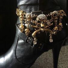 """Gold Skull Boot Bling Jewelry Rhinestones Skulls  Chain Handmade 15"""""""