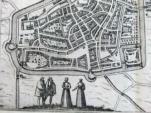 Leeuwarden Franeker Holland Netherlands city plans 1580 Braun & Hogenberg map