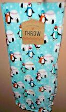 Velvet Plush Christmas Throw Blanket Penguins Igloos Snow New!