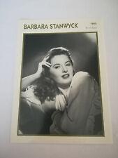 Barbara Stanwyck - Fiche cinéma - Portraits de stars 13 cm x 18 cm